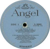 R. Wagner: Wesendonck Lieder. Christa Ludwig, Otto Klemperer, The Philharmonia Orchestra. Angel Records, B